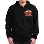 Breast Cancer Owl Zip Hoodie (dark)