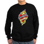 Down Syndrome Tattoo Heart Sweatshirt (dark)