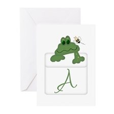 Pocket Pal Frog - Any Initial/Name Greeting Cards