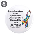 "Parenting Autism (advice) 3.5"" Button (10 pack)"