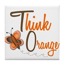 Think Orange 1 Butterfly 2 Tile Coaster