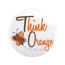 "Think Orange 1 Butterfly 2 3.5"" Button (100 pack)"