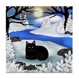 BLACK CAT FROZEN RIVER Tile Coaster