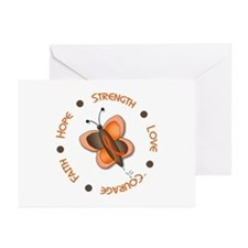 Hope Courage 1 Butterfly 2 ORANGE Greeting Cards (