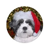 "Christmas Shih Tzu 3.5"" Button"