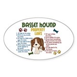 Basset Hound Property Laws 4 Oval Decal
