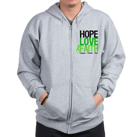 Lymphoma Hope Love Faith Zip Hoodie