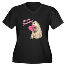 Be Mine, Groundhog Women's Plus Size V-Neck Dark T