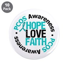 "PCOS HopeLoveFaith 3.5"" Button (10 pack)"