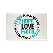 PCOS HopeLoveFaith Rectangle Magnet