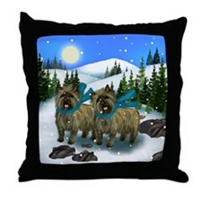 CAIRN TERRIER DOGS WINTER DAY Throw Pillow