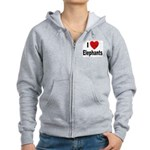I Love Elephants Women's Zip Hoodie