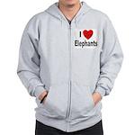 I Love Elephants Zip Hoodie