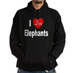 I Love Elephants Hoodie (dark)