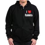 I love Rabbits for Rabbit Lov Zip Hoodie (dark)