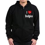 I Love Budgies Zip Hoodie (dark)