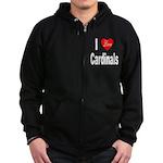 I Love Cardinals Zip Hoodie (dark)