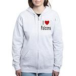 I Love Falcons Women's Zip Hoodie