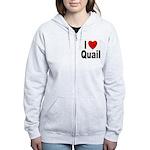 I Love Quail Women's Zip Hoodie