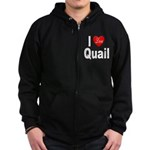 I Love Quail Zip Hoodie (dark)