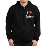 I Love Turkeys Zip Hoodie (dark)