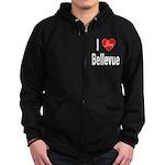 I Love Bellevue Zip Hoodie (dark)
