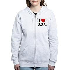 I Love U.S.A. Women's Zip Hoodie