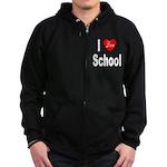I Love School Zip Hoodie (dark)