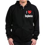 I Love Raspberries Zip Hoodie (dark)