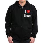 I Love Brown Zip Hoodie (dark)