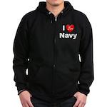 I Love Navy Zip Hoodie (dark)