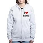 I Love Nurses Women's Zip Hoodie