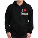 I Love Teachers Zip Hoodie (dark)