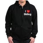 I Love Skiing Zip Hoodie (dark)
