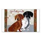 Quilted Dachshunds Rectangle Decal