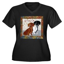 Quilted Dachshunds Women's Plus Size V-Neck Dark T