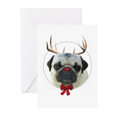 Rudolf the Pug Nosed Reindeer Greeting Cards (Pk o