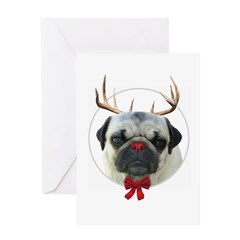 Rudolf the Pug Nosed Reindeer Greeting Card