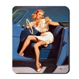 Hot Rod Vintage Pinup Girl Mousepad