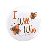 "I Will Win 1 Butterfly 2 ORANGE 3.5"" Button"