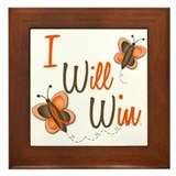 I Will Win 1 Butterfly 2 ORANGE Framed Tile