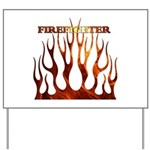 Firefighter Tribal Flames Yard Sign