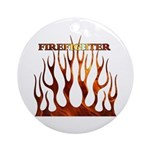 Firefighter Tribal Flames Ornament (Round)