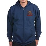 Firefighter Tribal Flames Zip Hoodie (dark)