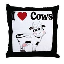 I Love Cows Throw Pillow