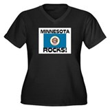 Minnesota Rocks! Women's Plus Size V-Neck Dark T-S