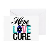 Thyroid Cancer HopeLoveCure Greeting Cards (Pk of