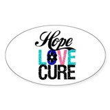 Thyroid Cancer HopeLoveCure Oval Sticker (10 pk)