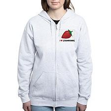 I Love Strawberries Zip Hoodie