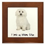 I Love My Bichon Frise Framed Tile